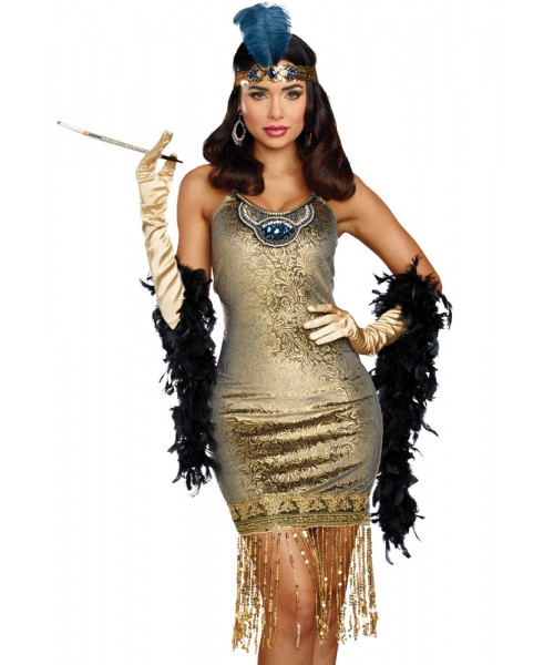 1920s Gold Fringe flapper dress with gloves & headband
