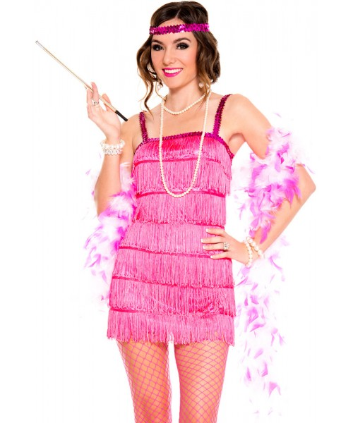Sexy womens hot pink sequined flapper costume