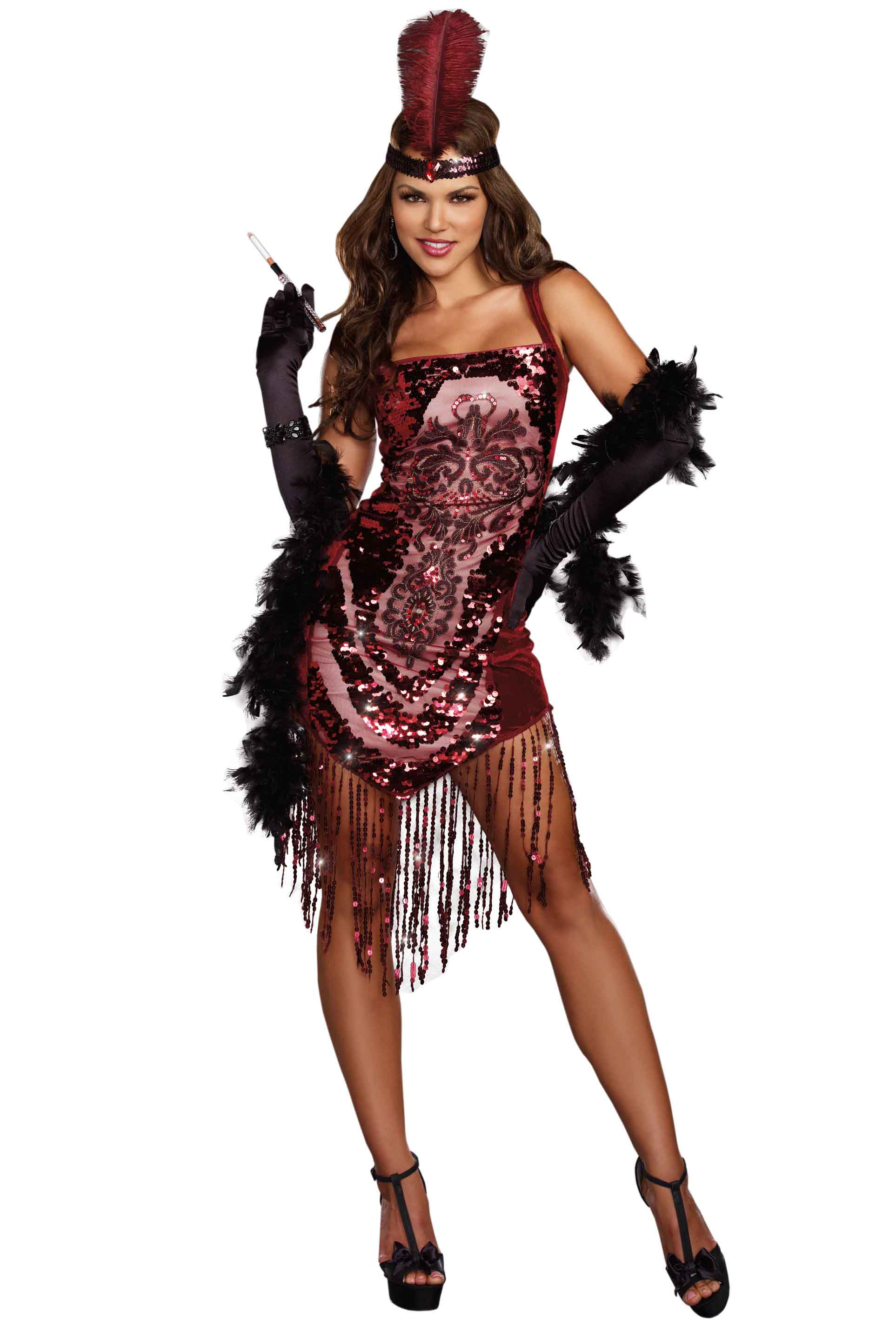Sexy red sequins saloon girl flapper dress costume | eBay