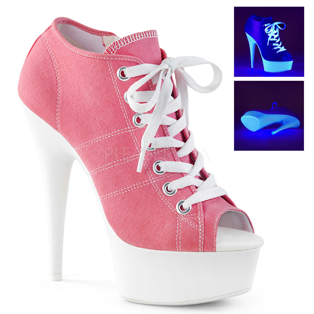 Pleaser 6  pink sneaker style lace up ankle bootie